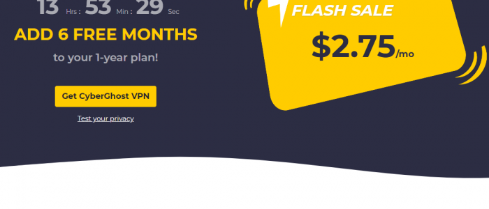 CyberGhost VPN 83% Discount $2.2 per month get 2 months free