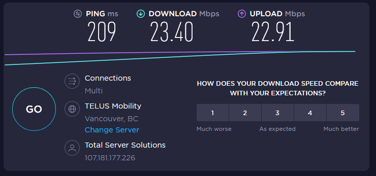 Ivacy VPN Speed Canada Location